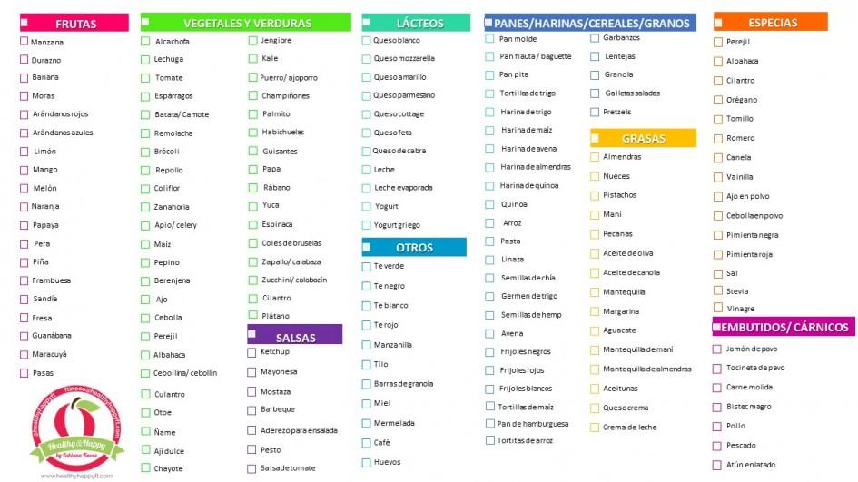 lista de supermercado saludable healthy happyft